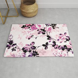 Modern blush pink black watercolor country floral Rug