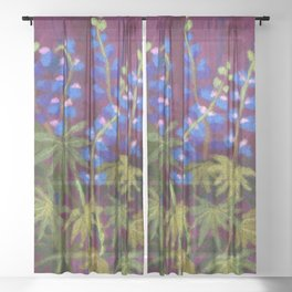 Lupines, wool painting Sheer Curtain