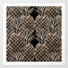 Faux Gold Leaf Pineapple Collage Art Print