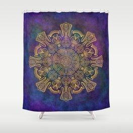 Gold Mandala on Colorful Cosmic Background Shower Curtain