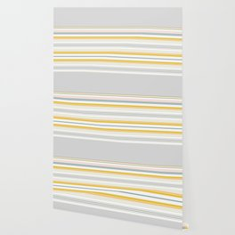 Blue Grey Gold Stripe Mix & Match Wallpaper