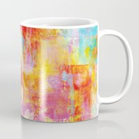 clueless Mugs featuring OFF THE GRID Colorful Pastel Neon Abstract Watercolor Acrylic Textural Art Painting Nature Rainbow  by EbiEmporium
