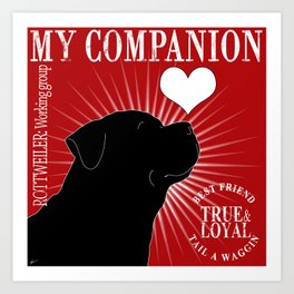ROTTWEILER – My Companion - Red Art Print
