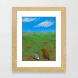 Bunny and Gopher Framed Art Print
