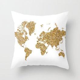 world map white gold Throw Pillow