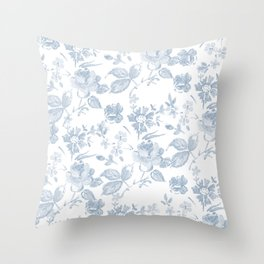 Emma Floral in Blue Throw Pillow