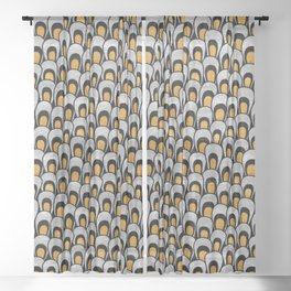 Modern Peacock Feathers - Black, Gold, Silver Sheer Curtain