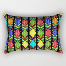 African Beaded Diamonds, Black Rectangular Pillow