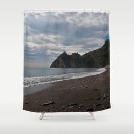SICILIAN Beach of Forza d'Agro - location of The Godfather Shower Curtain