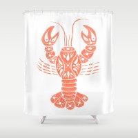 lobster Shower Curtains featuring Lobster by NoelleGobbi