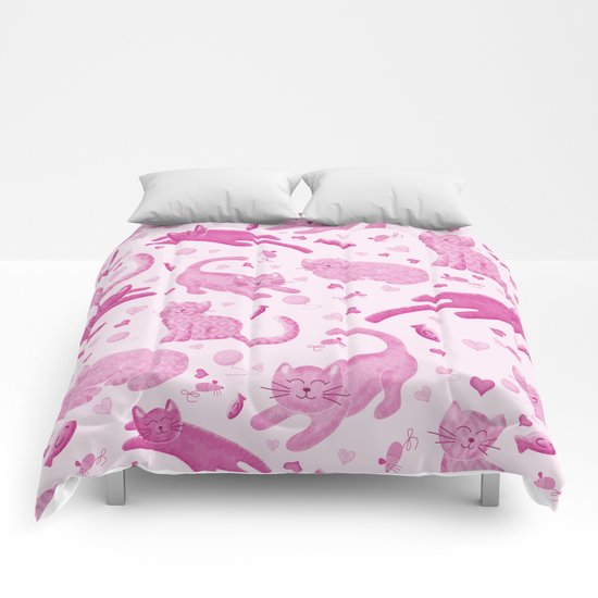 Pink Playful Kittens Comforters