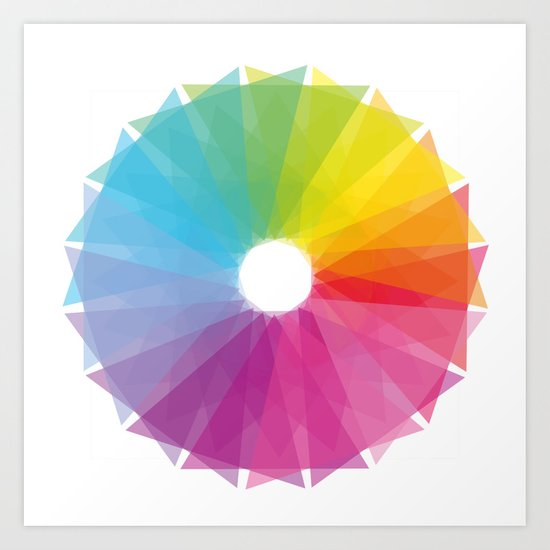 Geometric rainbow Art Print
