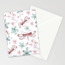 Among Dragonflies White Stationery Cards