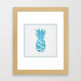 Blue Striped Pineapple Framed Art Print