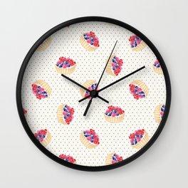 Vintage lavender pink ivory polka dots berries pie pattern Wall Clock
