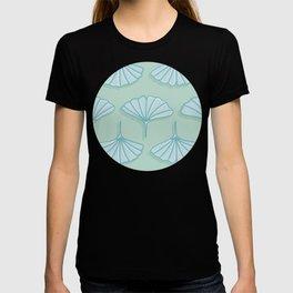 Aqua Ginkgo Leaf Pattern T-shirt