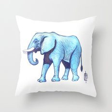 Elefante Blu Throw Pillow