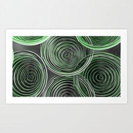 Black, white and green spiraled coils Art Print