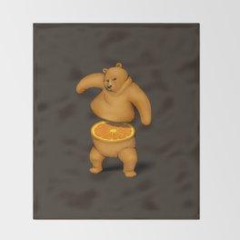 Orange Bear Throw Blanket