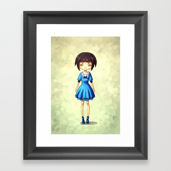 Girl in Blue Framed Art Print