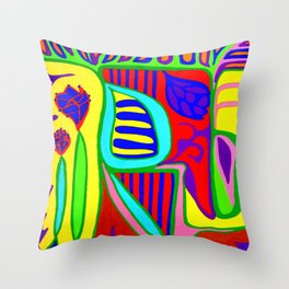 Abstract flower and shapes Throw Pillow
