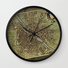 Old Paris Map and other manuscripts Wall Clock