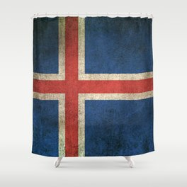 Old and Worn Distressed Vintage Flag of Iceland Shower Curtain