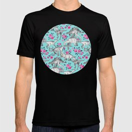 Dinosaurs and Roses - turquoise blue T-shirt