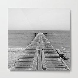 BEACH DAYS 45 - Bridge Black and white Metal Print