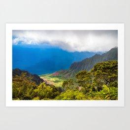 Kalalau lookout in Koke'e State Park - Kauai, Hawaii Art Print
