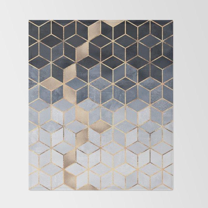 Soft Blue Gradient Cubes Decke