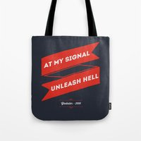 gladiator Tote Bags featuring Gladiator blu red by 16floor