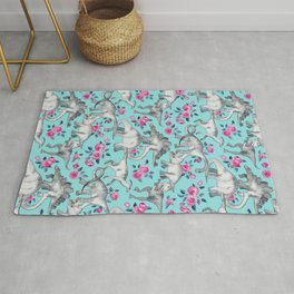 Dinosaurs and Roses - turquoise blue Rug