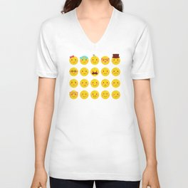 Cheeky Emoji Faces Unisex V-Neck