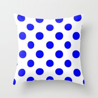 polka dots Throw Pillows featuring Polka Dots (Blue/White) by 10813 Apparel