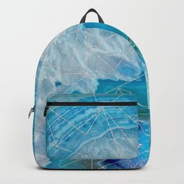 light blue agate with rose gold triangle pattern Backpack