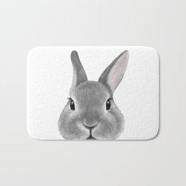 Netherland Dwarf rabbit Grey, illustration original painting print Bath Mat