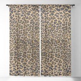LEOPARD LEO SKIN ORIGINAL BLACK, BROWN. ANIMAL PRINT Sheer Curtain