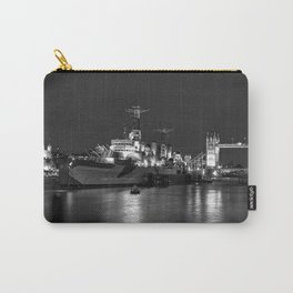 HMS Belfast in Black and White Carry-All Pouch