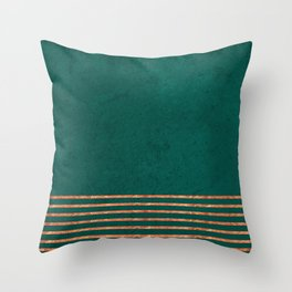 EMERALD COPPER GOLD BRASS STRIPES Throw Pillow