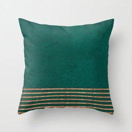 EMERALD COPPER GOLD BRASS STRIPES Throw Pillow