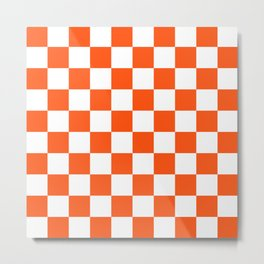 Cheerful Orange Checkerboard Metal Print