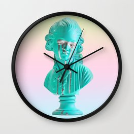 Bust of a Weeping Man (In Ice Blue Gradient) Wall Clock