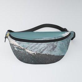 Snowy Mountains Under Teal Sky - Alaska Fanny Pack