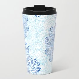 Mandala blue snowflake illustration. Travel Mug