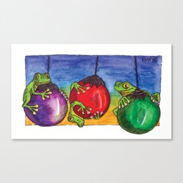 Christmas Frogs on Baubles Canvas Print