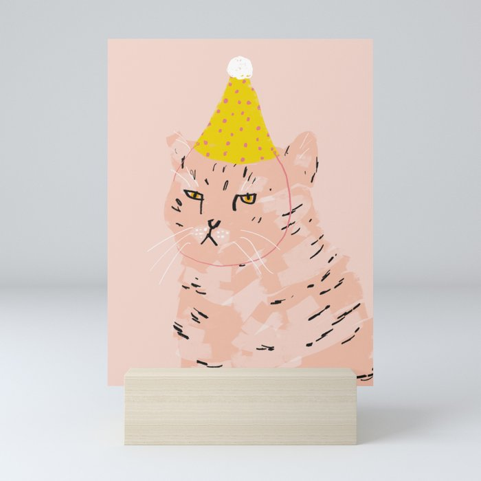 Party Cat Mini Art Print