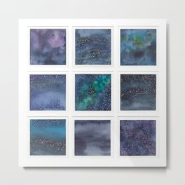 Watercolor collection: Night skies & galaxies Metal Print