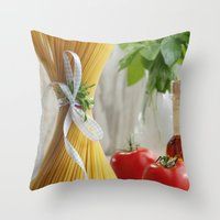 pasta Throw Pillows featuring delicious pasta by Tanja Riedel