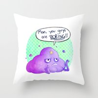 lumpy space princess Throw Pillows featuring Lumpy Space Princess by inki